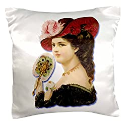 3dRose pc_175396_1 Beautiful Victorian Lady In A Feathered Hat Holding A Feather Fan Pillow Case, 16 x 16