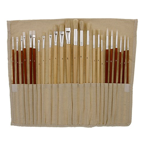 US Art Supply® 24pc Oil & Acrylic Paint Long Handle Artist Paint Brush Set with FREE Canvas Roll-Up