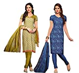 PARISHA Present 2 Pieces Combo Cream & Olive , Navy Blue Printed Un Stitched Chudidar Suit 3DZL5008-04