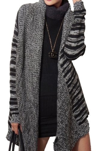 ELLAZHU Women Stripe Asymmetric Hem Cardigan Sweater Coat Onesize GH04 Grey