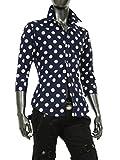 ドット柄 シャツ メンズ 水玉 ドレスシャツ 半袖 長袖 七分袖 黒 白 赤 ネイビー カジュアルシャツ 大きいサイズ ネイビー 七分袖-M