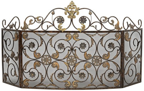 Great Features Of Ornate Antique Gold Three Fold Iron Fireplace Screen