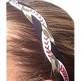 It S Ridic No Slip Grip Non-Slip Sports Athletic Nylon Triple Braided Sports Headband Black | White With Red Seam...