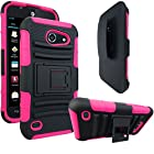 AT&T Tribute / Fusion 3 Case, E-Time (TM) AT&T Tribute / Fusion 3 (HUAWEI Y536A1) GoPhone Armor Series - Heavy Duty Dual Layer Holster Case Kick Stand with Locking Belt Swivel Clip (Free E-Time Brand LCD Screen Protector + Stylus Pen Included) (BLACK/PINK)