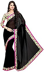 Lizel Fashion Women's Georgette Saree (AN100, Black)