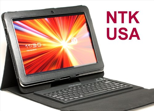 NTK Pemium Wireless Bluetooth Keyboard Folding Leather Case For Samsung Galaxy Tab 10.1 New