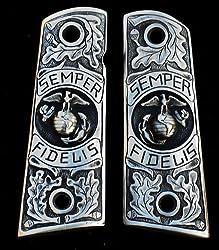 Pewter 1911 Gun Grips USMC Marine Corps Eagle Semper Fidelis Engraved Design