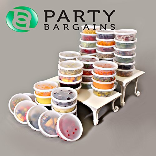 Party Bargains Plastic Food Storage Containers with Lids, 8 Ounce, Pack of 48 Airtight, Temperature Resilient Leak Proof Deli Containers, Microwave & Dishwasher Safe, Stackable, Reusable (8oz, 48pcs) (Extreme Freeze Reditainer 8 Oz compare prices)