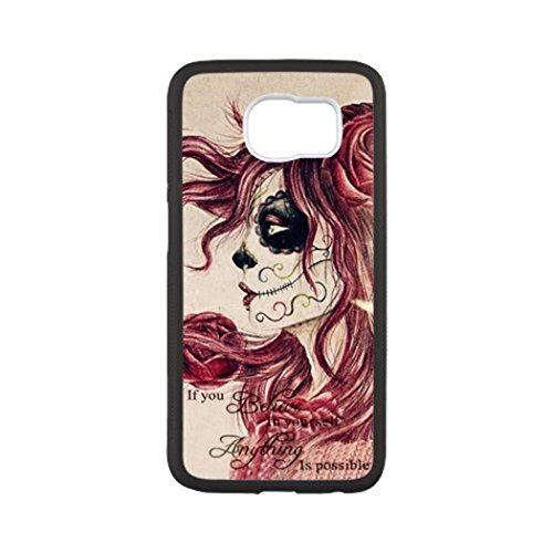 Day of the Dead Skull Custom Unique Fashion Design Samsung s6 Black Cover Case (Laser Technology) by South Park