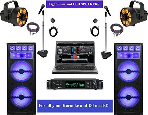 Complete LED Light Professional DJ Software and Loudspeaker Equipment Bundle Free DJ MUSIC!!!!
