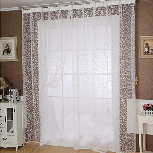 WensLTD Fantasy Pure White Print Sheer Window Curtains,2mx1m