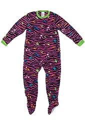 Komar Kids Big Girls' Pink Zebra Paint Splatter Footed Pajamas