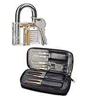 Practice Lock Set, NALAKUVARA Crystal Transparent Professional Visible Cutaway Inside View Padlocks with 2 keys, 24 pcs Various Picks Crochet Hook, Wrenches, Leather Pouch for Locksmith Training