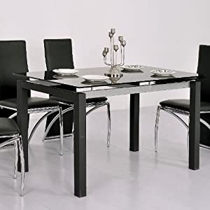 table en verre noire extensible waly cuisine maison. Black Bedroom Furniture Sets. Home Design Ideas