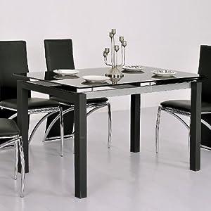 Table en verre noire extensible waly cuisine maison - Table cuisine en verre ...