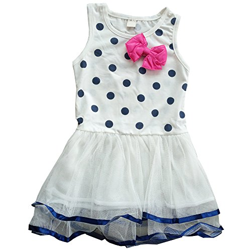 CHN'S Hot Sale Girls Candy-colored Bow Dots Vest Dress One-piece
