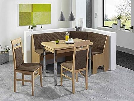 Eckbankgruppe Malmö Buche Natur Dekor 165x125 cm Tisch mit Chromfussen