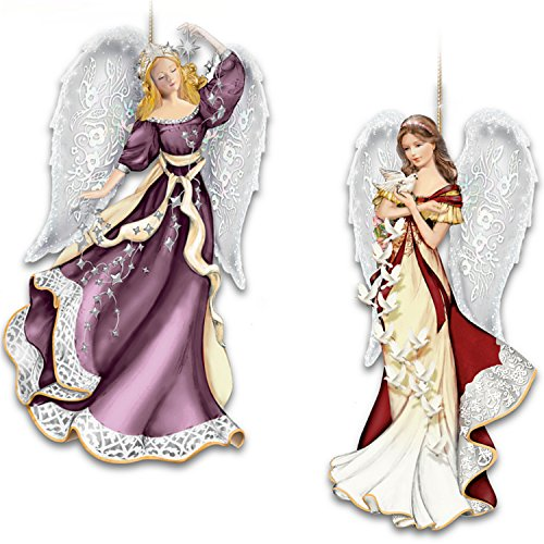 Thomas Kinkade Heaven Sent Angel Two-Ornament Set With Lacy Bas-Relief Wings by The Bradford Exchange