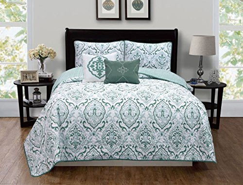 Cheapest Prices! PinkRoseBedding Reversible Microfiber Printed Quilt (Full/Queen, Green)