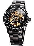 Alienwork IK mechanische Automatik Armbanduhr Skelett Automatikuhr Uhr schwarz Edelstahl