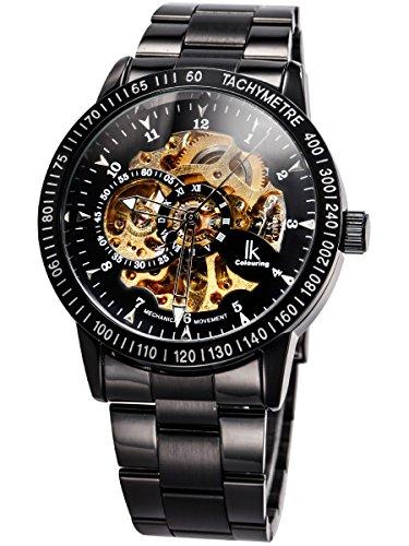 Alienwork IK mechanische Automatik Armbanduhr Skelett Automatikuhr Uhr schwarz Edelstahl 98226-07