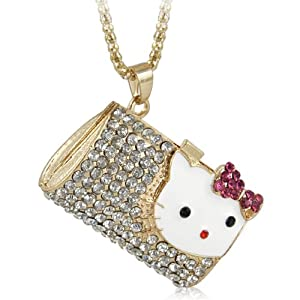 World Pride Gold Tone Large Purse Handbag Locket Pendant Necklace with Pink Bow Kitty Decorated
