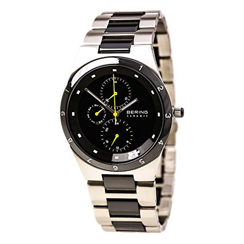 Bering Time Men's Quartz Watch with Black Dial Analogue Display and Silver Stainless Steel Plated 32339-722