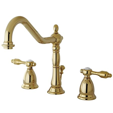 "Kingston Brass KS1992TAL Widespread Lavatory Faucet with Brass Pop-Up, Polished Brass, 6-1/2"" In Spout Reach"