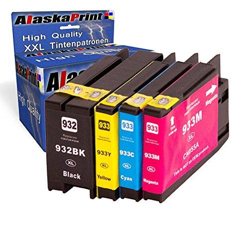 Premium 4er Set Kompatible Tintenpatronen Als Ersatz für HP 932xl HP 933xL mit Chip und Füllstandsanzeige für Officejet 4×932- 933-hp