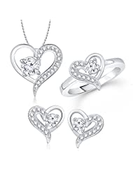 Meenaz Pendant Jewellery Set Combo Silver Plated Cz In American Diamond For Girls & Women Com203