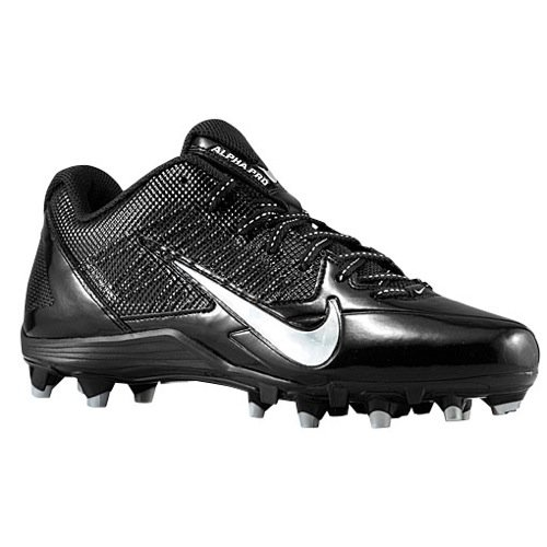 Nike Alpha Pro TD Men`s Molded Football Cleats (9, Black/Metallic Silver)