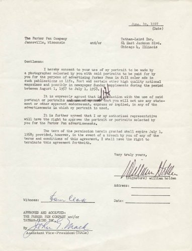 William Holden - Document Signed 06/19/1957