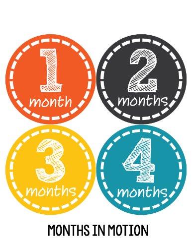 Months in Motion 149 Monthly Baby Stickers Milestone Age Sticker Photo Prop Newborn Boy