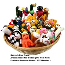 Great Assortment Sanyork Fairly Traded Finger Puppets Set Of 25 Assortment Birds, Animals & Insects