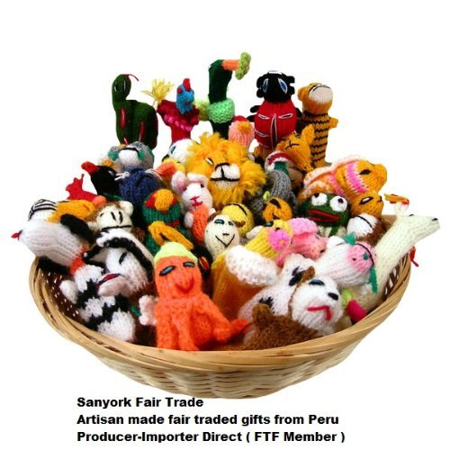 Sanyork Fairly Traded Finger Puppets Set of 10 Assortment Birds, Animals & Insects Peru - 1
