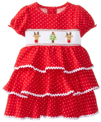 Mud Pie Baby-Girls Newborn Corduroy Smocked Tiered Dress, Multi, 12-18 Months front-574580