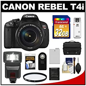Canon EOS Rebel T4i Digital SLR Camera Body & EF-S 18-135mm IS STM Lens with 32GB Card + Flash + Battery + Case + Filter + Remote + Accessory Kit