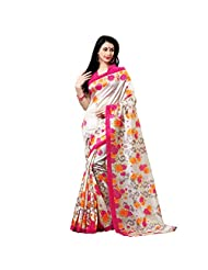 Cream & Pink Colour Cotton Silk Printed Saree With Unstitched Blouse Piece