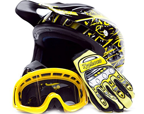 Adult Offroad Helmet Goggles Gloves Gear Combo DOT Motocross ATV Dirt Bike MX Black Yellow Splatter ( M Medium )