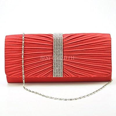 Wocharm (TM) Womens Satin Diamante Ladies Pleated Wedding Bridal Prom Handbag Clutch Bag (Red) - more-bags