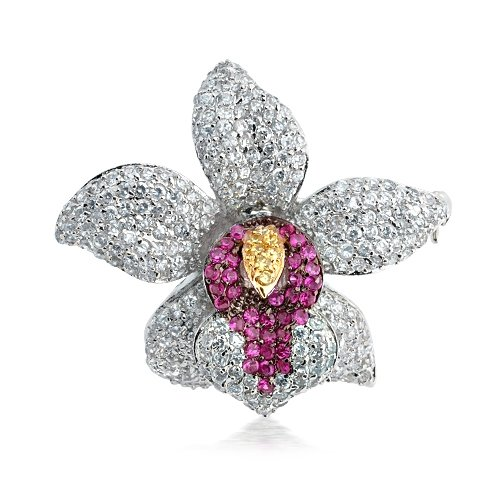 Mothers Day Gifts Bling Jewelry CZ Fuschia Orchid Flower Wedding Brooch Pin Pendant