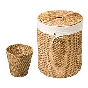 Seville classics hand woven rattan hamper and waste basket set home improvement - Rattan waste basket ...