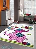 Kinderteppich Spielteppich Kinderzimmer Teppich Elefanten Design Creme Rosa Pink Grün