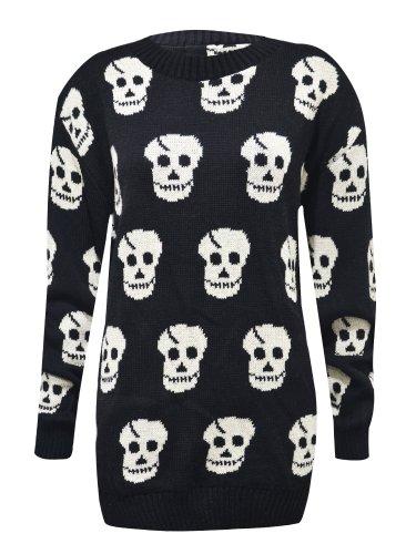 Nuovo da donna grandi dimensioni Le misure Plus teschio con stampa della serie da donna grande maglione fatto a maglia Tops