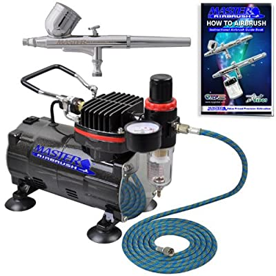 Bestseller - Complete Set! Master Airbrush Brand High Performance Multi-purpose Gravity Feed Dual-action Airbrush Kit with 6 Foot Hose and a Powerful 1/5hp Single Piston Quiet Air Compressor-The Complete Set Now Includes a (FREE) How to Airbrush Training