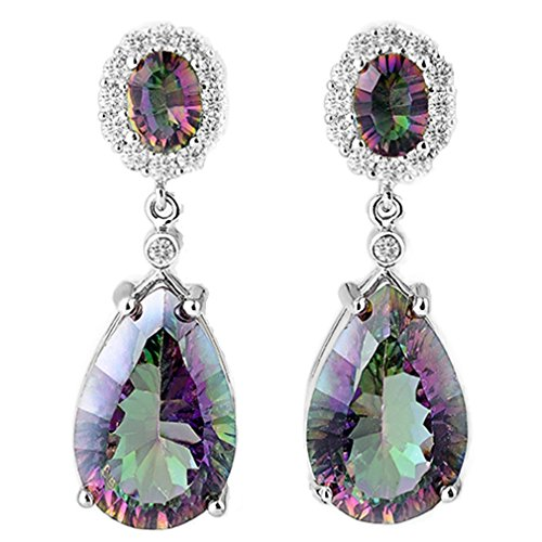 Aurora Tears Women Retro Multicolor Mystic Fire Topaz Gemstone Earrings Teardrops Dangle Drops E8M (Mystic Fire Topaz Gem compare prices)