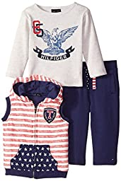 Tommy Hilfiger Baby-Boysant Stripes Vest with Tee and Pants, Multi, 12 Months