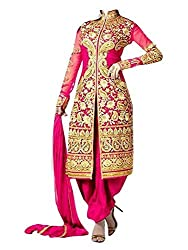 Durga Fashion Women's Pink Net Semi-stiched Dress Material