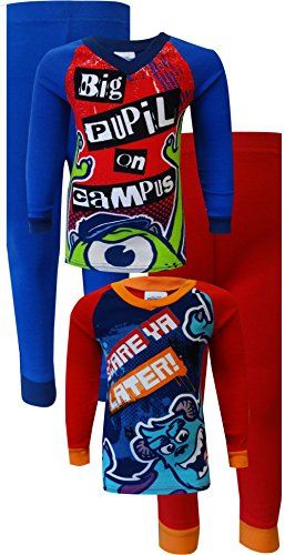 Disney Big Boys' Monsters Inc 4-Piece Pajama Set, Red, 8