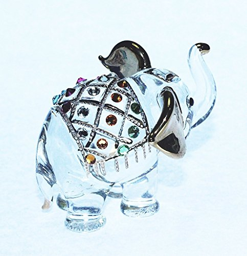 Elephant Figure Dollhouse Miniatures Animals Swarovski Crystal Collectible Figurine by ChangThai Design
